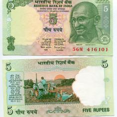 INDIA- 5 RUPEES 2001-2002- P 88 A- UNC!!