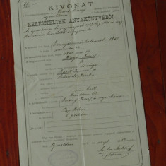 Document act vechi in Limba maghiara din Banat cu stampila 1911 - Pasaport/Document