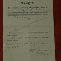 Document act Limba maghiara din Banat cu stampila anul 1900 !!! - Pasaport/Document