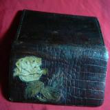 Portofel vechi din piele, de dama, cu trandafir , L=  9 cm