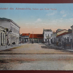 Vedere/Carte postala - Salutari din Alexandria-Vedere spre Hotel Teodor-Cenzurat - Carte Postala Oltenia dupa 1918, Circulata