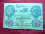 Bancnota 20 Marci 1910 Germania , cal.mediocra , serie 7 cifre ,Eroare: cifra 1 mai mica
