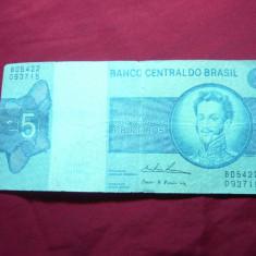 Bancnota 5 cruzeiros Brazilia 1973