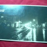 Ilustrata - Bucurestiul noaptea, interbelica - Carte Postala Muntenia 1904-1918