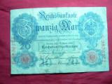 Bancnota 20 Marci 1910 Germania , cal.mediocra , serie 7 cifre