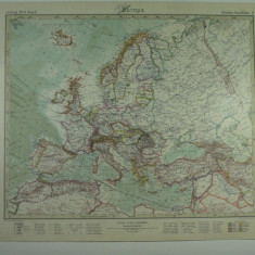 HARTA VECHE - EUROPA - DIN STIELERS HAND ATLAS - 1928/29- EDITURA GOTHA JUSTUS PERTHES - DR. H. HAACK