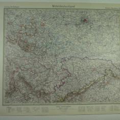 HARTA VECHE - MITTELDEUTSCLAND - GERMANIA CENTRALA - STIELERS HANDATLAS 1928
