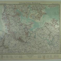 HARTA VECHE - SCHLESWIG -HOLSTEIN -MECKLENBURG - STIELERS HAND ATLAS - 1928/29