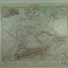 HARTA VECHE - GERMANIA - DIN STIELERS HAND ATLAS - 1928/29 - EDITURA GOTHA JUSTUS PERTHES - DR.H.HAACK