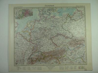 HARTA VECHE - GERMANIA - DIN STIELERS HAND ATLAS - 1928/29 foto