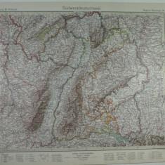 HARTA VECHE-SUDWESTDEUTSCHLAND-GERMANIA DE SUD VEST-STIELERS HAND ATLAS 1928/9