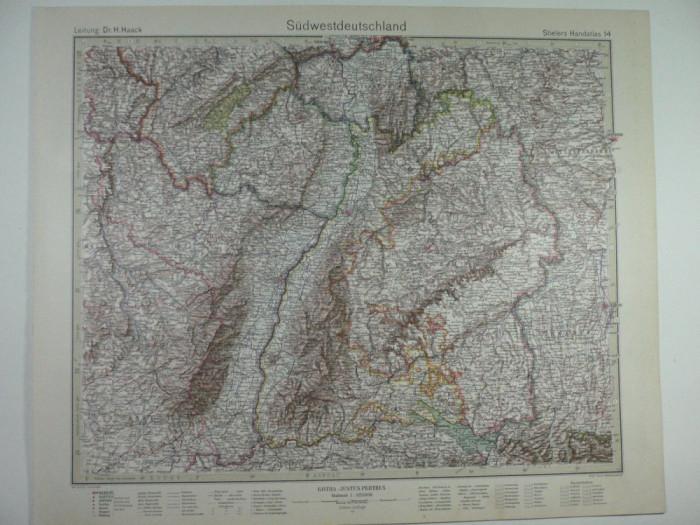 Harta Veche Sudwestdeutschland Germania De Sud Vest Stielers Hand