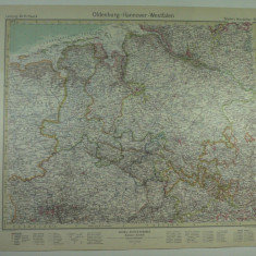 HARTA VECHE - OLDEMBURG - HANOVRA - VESTFALIA - DIN STIELERS HAND ATLAS - 1928/9