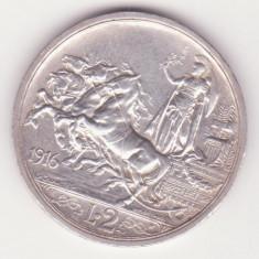 MONEDA DIN ARGINT ITALIA - 2 LIRE 1916 - VITTORIO EMANUELE III - MAI RARA, Europa