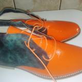 Ghete piele naturala, facute la comanda, portocaliu cu piele culoarea blug, marimea 40 - Ghete barbati, Culoare: Orange, Orange