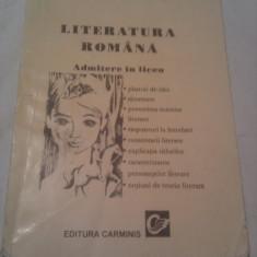 LITERATURA ROMANA ADMITERE LICEU DE CARMEN IORDACHESCU,INDRUMATOR LITERAR