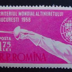 LP 453, criteriul mondial al tineretului la scrima - Timbre Romania, Nestampilat