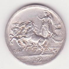MONEDA DIN ARGINT ITALIA - 2 LIRE 1914 - VITTORIO EMANUELE III - MAI RARA, Europa