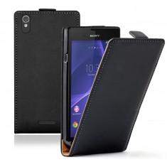 Husa Sony Xperia T3 Flip Case Inchidere Magnetica Slim Black, Negru, Piele Ecologica, Toc