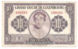 LUXEMBURG 10 FRANCI FRANCS ND (1944) F