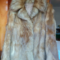 Haina din blana naturala de vulpe marimea 42, este noua, adusa din Germania! Oferta!, Culoare: Cappuccino, Cappuccino, Piele