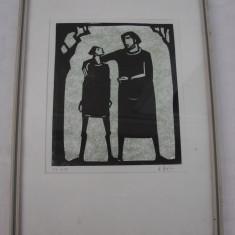 Frumoasa grafica pe carton (1) - Tablou autor neidentificat