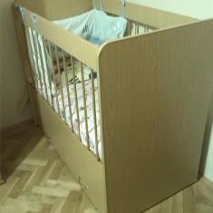 Patut lemn cu 2 sertare + saltea - Patut lemn pentru bebelusi, Altele, 120x60cm, Maro