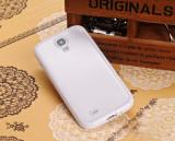 Husa cu spate transparent si rama mata alba Samsung Galaxy S4 + folie ecran si cablu date cadou, Gel TPU, Carcasa