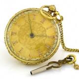 Ceas de buzunar aur18k englezesc cu cheie anul 1880...reducere
