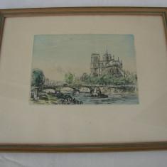 Litografie veche reprezentand catedrala Notre Dames din Paris, avand sigiliul Muzeului Louvre