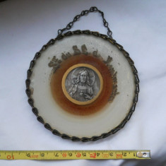 Deosebita si Veche Icoana Isus stampilata inramata in lant impletit si sticla