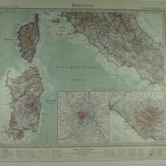 HARTA VECHE - ITALIA CENTRALA - DIN STIELERS HAND ATLAS - 1928/9 - EDITOR GOTHA JUSTUS PERTHES - DR.H.HAACK