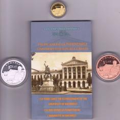 Set  Monede BNR 150 de ani de la infiinţarea Universitatii din Bucureşti 100 Lei 2014 (aur) , 10 Lei 2014 (argint) , 1Leu 2014 ( tombac cuprat)