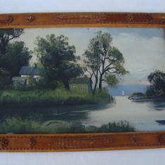 Frumoasa pictura pe carton - peisaj, case cu lac - Tablou autor neidentificat, Tempera