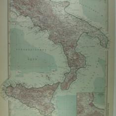 HARTA VECHE - ITALIA DE SUD - DIN STIELERS HAND ATLAS - 1928/9 - EDITOR GOTHA JUSTUS PERTHES - DR.H. HAACK