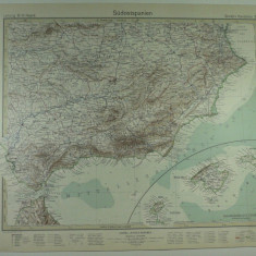 HARTA VECHE - SUDUL SPANIEI - DIN STIELERS HAND ATLAS - 1928/9 - EDITOR GOTHA JUSTUS PERTHES - DR.H.HAACK
