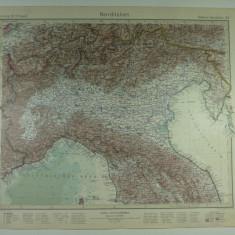 HARTA VECHE - ITALIA DE NORD - DIN STIELERS HAND ATLAS - 1928/9 - EDITOR GOTHA JUSTUS PERTHES - DR.H.HAACK