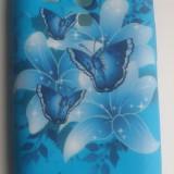 Husa silicon model floral Samsung Galaxy S3 Mini i8190  + folie protectie si cablu date cadou, Albastru