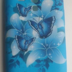 Husa silicon model floral Samsung Galaxy S3 Mini i8190 + folie protectie si cablu date cadou - Husa Telefon Samsung, Albastru, Carcasa