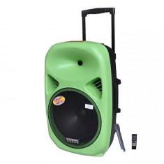 BOXA ACTIVA PROFESIONALA CU MIXER SI MP3 PLAYER STICK USB,CARD,ACUMULATOR,EFECTE VOCE,TELECOMANDA SI MICROFON WIRELESS,SUNET HI FI.