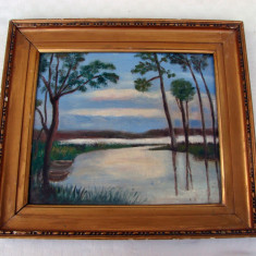 Pictura veche realizata in ulei pe placaj