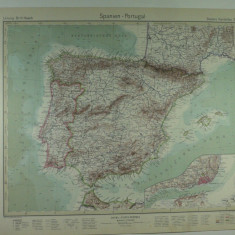 HARTA VECHE - SPANIA SI PORTUGALIA - DIN STIELERS HAND ATLAS - 1928/9 - EDITHOR GOTHA JUSTUS PERTHES - DR.H.HAACK