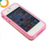Bumper roz iPhone 4  + folie protectie si cablu date cadou, iPhone 4/4S