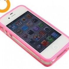 Bumper roz iPhone 4 + folie protectie si cablu date cadou - Bumper Telefon, iPhone 4/4S