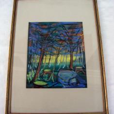 Pictura abstracta realiazata pe carton - Cioate in padure - Tablou autor neidentificat