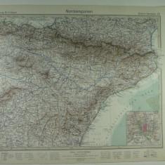 HARTA VECHE - SPANIA DE NORD - DIN STIELERS HAND ATLAS - 1928/9 - EDITOR GOTHA JUSTUS PERTHES - DR.H.HAACK
