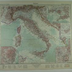 HARTA VECHE - ITALIA - DIN STIELERS HAND ATLAS - 1928/9 - EDITOR GOTHA JUSTUS PERTHES - DR.H.HAACK