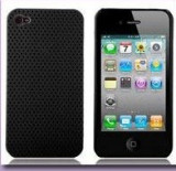 Husa plastic neagra cu perforatii iPhone 4 + folie protectie si cablu date cadou, Negru, Carcasa, Apple