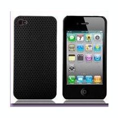 Husa plastic neagra cu perforatii iPhone 4 + folie protectie si cablu date cadou