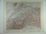 HARTA VECHE - ALPII ELVETIENI - DIN STIELERS HAND ATLAS - 1928/9